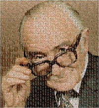 Professor Archibald Leman Cochrane, CBE FRCP FFCM, (1909-1988) (as depicted by a composite of hundreds of photos of Cochrane contributors)