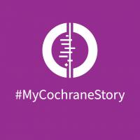 White Cochrane logo on purple background, below which says #MyCochraneStory