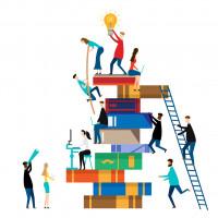 People climbing on books