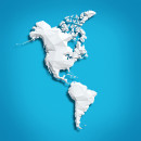 Image of map of the Americas on blue background
