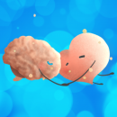 Brain and Heart cartoon hugging