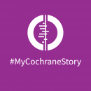 White Cochrane logo on purple background, below which says #MyCochraneStory