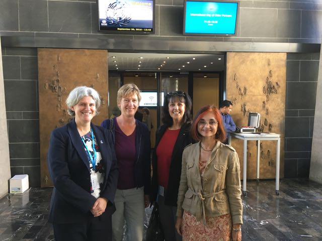 Tracey Howe (Cochrane Global Ageing), Sylvia de Haan (Cochrane), Sue Marcus (Cochrane Global Ageing) and Ritu Sadana (WHO) meeting in front of WHO Executive Board room