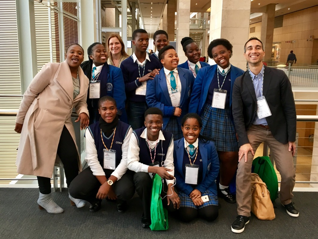 Student reporters from the Cape Town's Children's Radio Foundation. As part of the Global Evidence Summit, they interviewed the leading plenary speakers on the topic of evidence in a post-truth world.